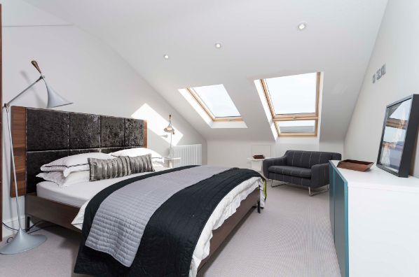 Flat roof rear dormer conversion, creating a master bedroom with bathroom in Denton