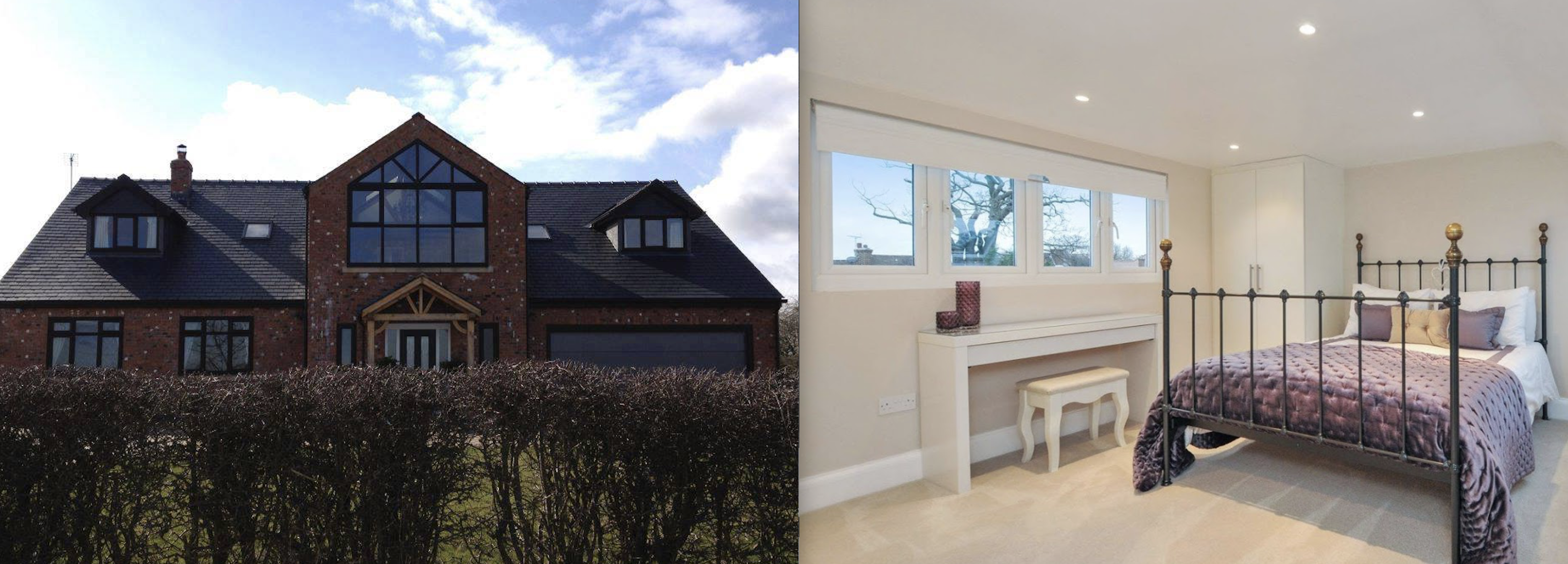 Beautiful Dormer loft conversion in Mossley, creating a new master bedroom with private bathroom, walk in wardrobe and stunning new oak staircase with Velux polyurethane SK06 GPU windows.
