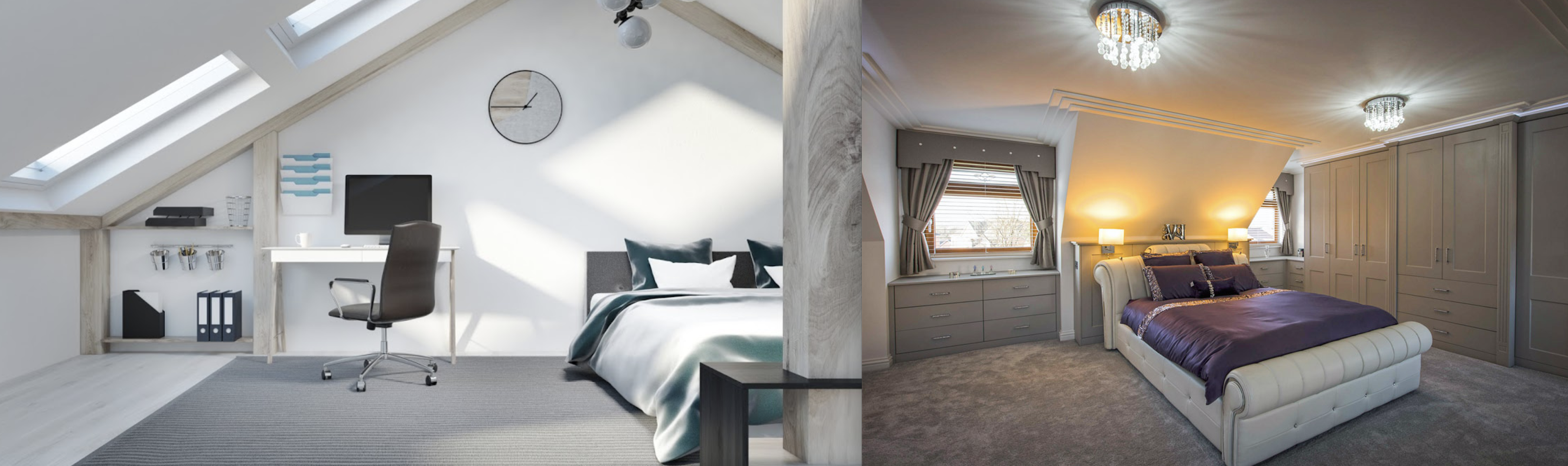 Beautiful Dormer loft conversion in Tameside, creating a new master bedroom with private bathroom, walk in wardrobe and stunning new oak staircase with Velux polyurethane SK06 GPU windows.