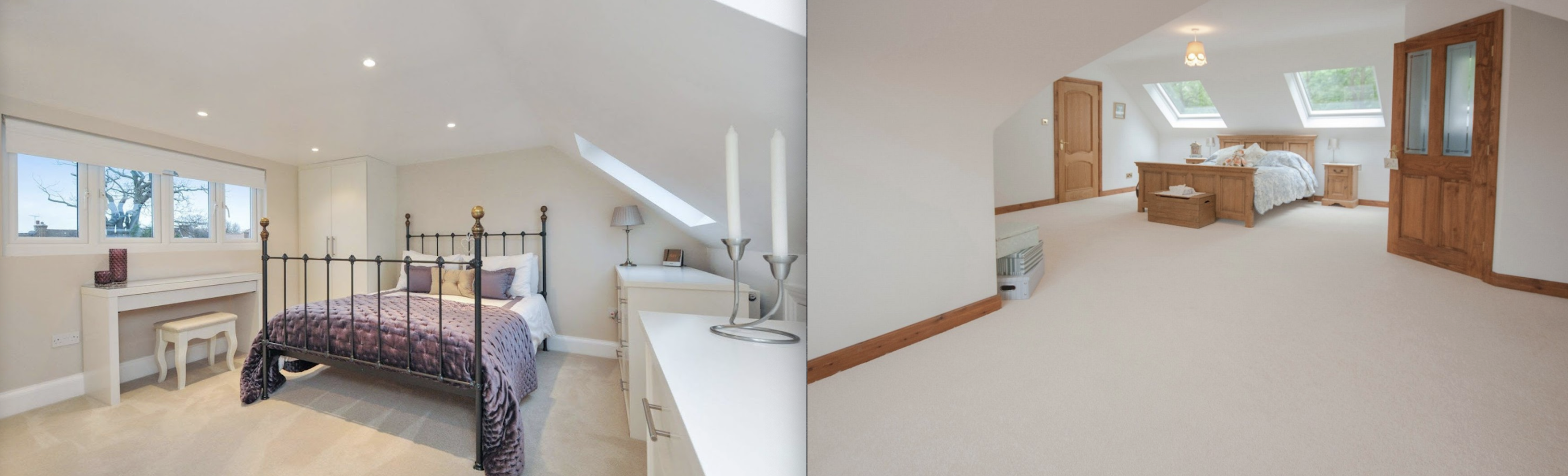 Beautiful Dormer loft conversion in Rochdale, creating a new master bedroom with private bathroom, walk in wardrobe and stunning new oak staircase with Velux polyurethane SK06 GPU windows.