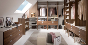 Most women dream oftheir own walk in wardrobe more times that they can count, and this dream can become reality, a loft conversion can easily be converted into a stylish walk in wardrobe, with the slanted ceilings and the ambience of this room combined with beautiful lighting ideas will give you the walk in wardrobe of your dreams.