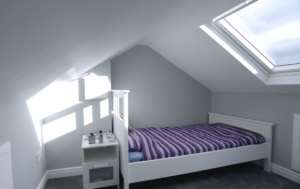 Stunning Farnworth loft conversion, decorated in a light grey and white emulsion.