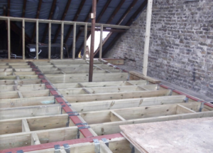Floor joists for a new floor in this loft conversion