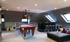 Games room created from this Velux loft conversion, decorated to a very high standard