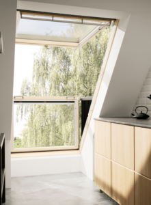 Velux Cabrio® balcony windows open in seconds and are a beautiful addition to any home, the innovative balcony design adds air with a stunning view. Suitable for roof pitches between 35° and 53°.