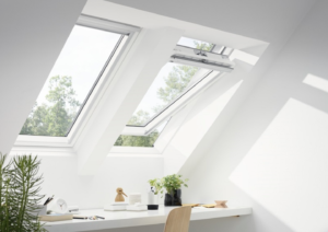 Two Velux roof windows in a loft conversion